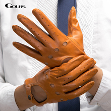 Gours Mens Fall and Winter Genuine Leather Gloves New Fashion Brand Black Warm Driving Unlined Gloves Goatskin Mittens GSM034