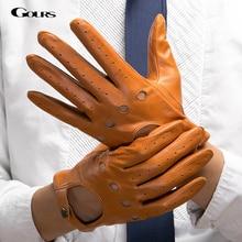 قفازات من الجلد الطبيعي للخريف والشتاء للرجال من gour موضة جديدة سوداء دافئة للقيادة غير مبطنة قفازات من جلد الماعز GSM034