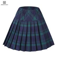 Urban CoCo Женская плиссированная юбка в шотландскую клетку с эластичной талией, школьная форма, высокая талия, трапециевидная клетчатая юбка