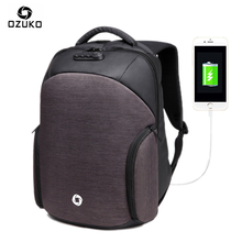 Ozuko Anti-theft USB Charging Backpacks Males Ladies Pc Bag Password Lock  Waterproof  Informal Laptop computer Baggage for macbook xiaomi