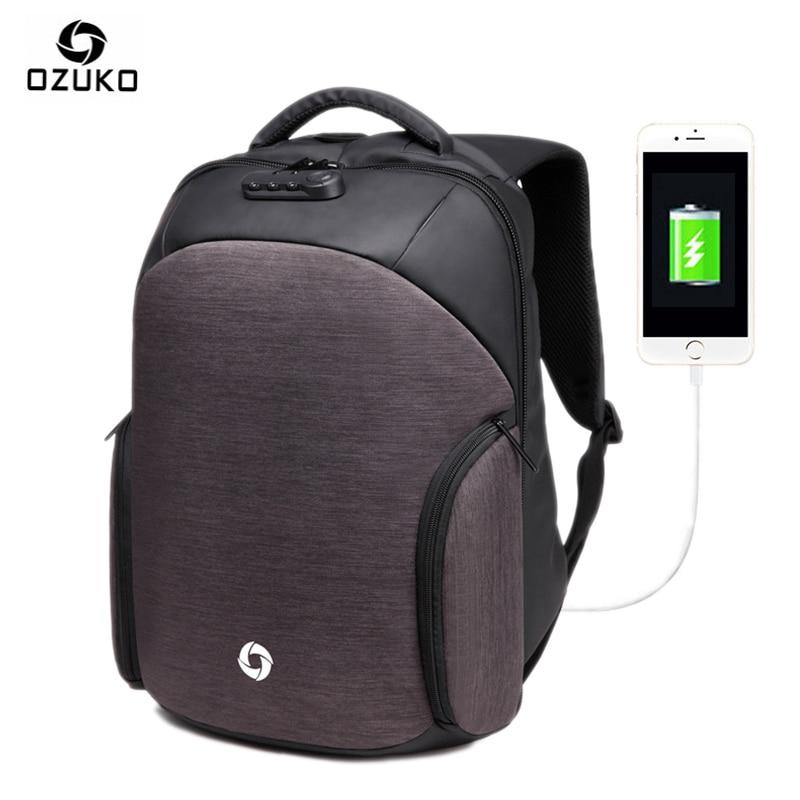 Ozuko Anti-theft USB Charging Backpacks Men Women Computer Bag Password Lock Waterproof Casual Laptop Bags for macbook xiaomi