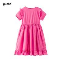 Kids Clothes Teenage Girls Dress Pink Dress For Girl Kids For Summer Cotton Kids Dresses For