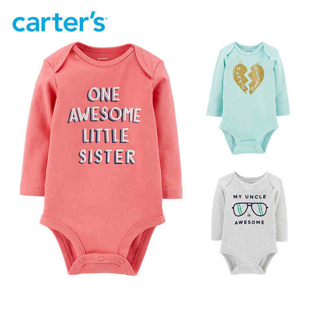 d286cb34d539 Carters baby girl bodysuits cute print long sleeve soft cotton ...