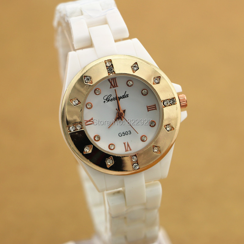 Copy ceramic fashion lady watches,rhinestion deco case with gold plating,ceramic belt,quartz movement,G503 lady watches