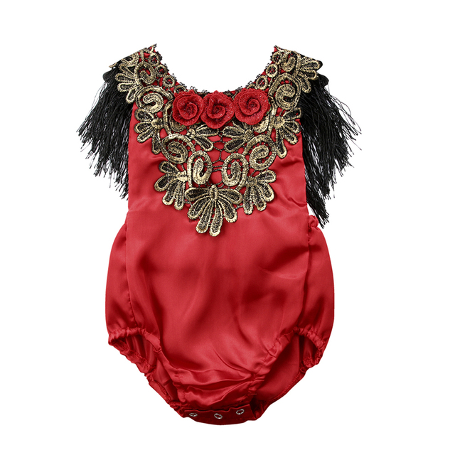 6060f0030 Newborn Kids Baby Girl Lace Rose Crochet Romper Jumpsuit Clothes ...