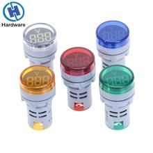 22mm LED Digital Display Gauge Volt Voltage Meter Indicator Signal Lamp Voltmeter Lights Tester Combo Measuring Range 12-500VAC