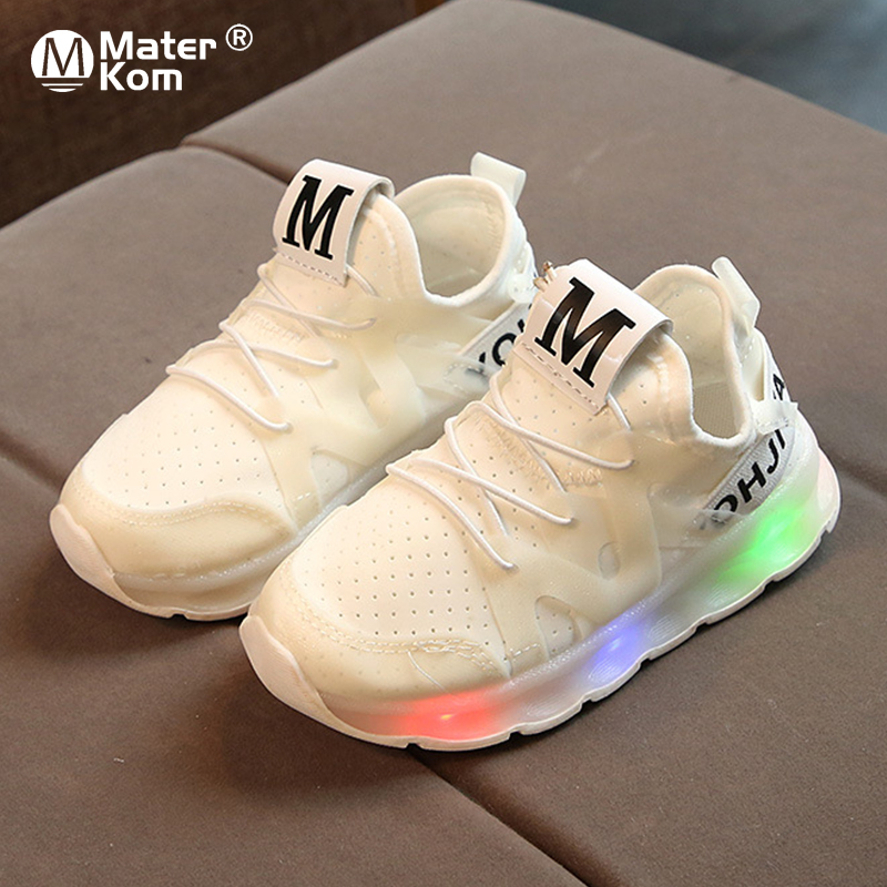 Size 21-30 Kids Shoes With Light Tenis LED Infantil For Boys Girls Sport Lighting LED Shoes Kids Baby Children Glowing Sneakers