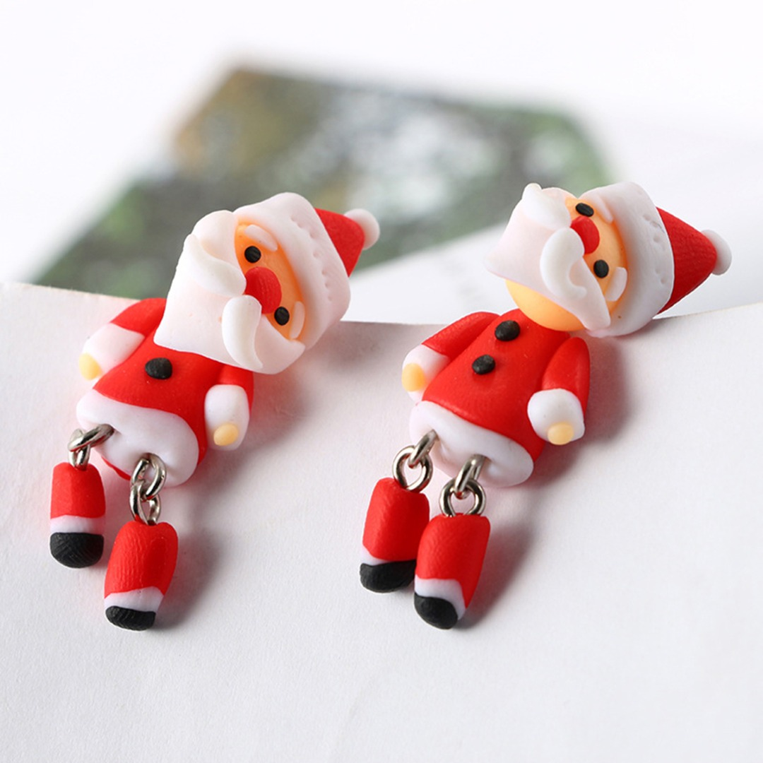 Polymer Clay Christmas Earrings.Loverly Santa Claus Snowman Polymer Clay Soft Earrings For Women Dangle Earrings Girls Gift Shellhard Christmas Jewelry In Drop Earrings From Jewelry