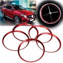 5 шт. стайлинга автомобилей Красный вентиляционное отверстие розетки кольцо крышки Накладка для Benz A/B/CLA/GLA класс 180 200 220 250 260 W176