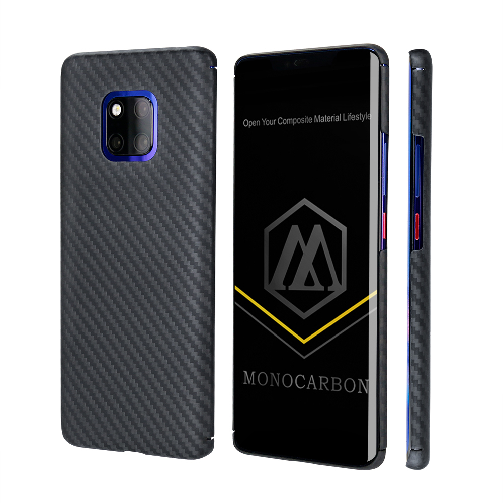 MONOCARBON Aramid Fiber Case for Huawei Mate 20 Mate 20 Pro with 4 Sides Protective Slim Carbon Fiber Patterns Cover