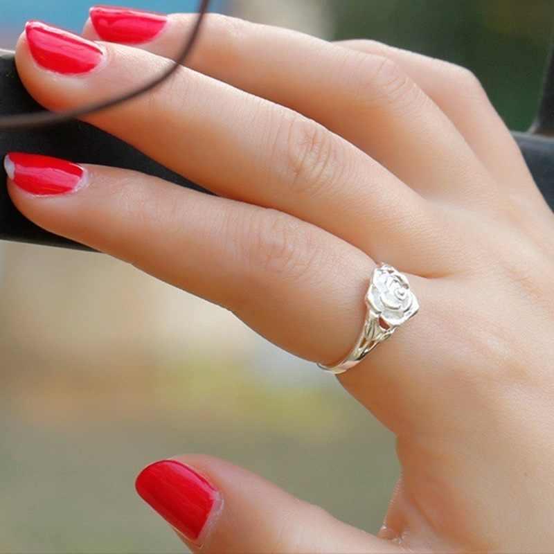 OMHXZJ Bán Buôn Châu Âu Thời Trang Phụ Nữ Cô Gái Bên Món Quà Cưới Bạc Rose S925 Sterling Silver Ring RR289