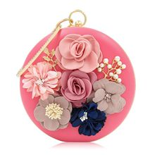 Women Clutch Flower Diamonds Lady Evening Bags Round Shaped Rhinestones Handmade Beaded Chain Shoulder Purse Evening Bags etaill pink lace floral women clutch flower diamonds lady evening bags round shaped chain shoulder purse party evening bag