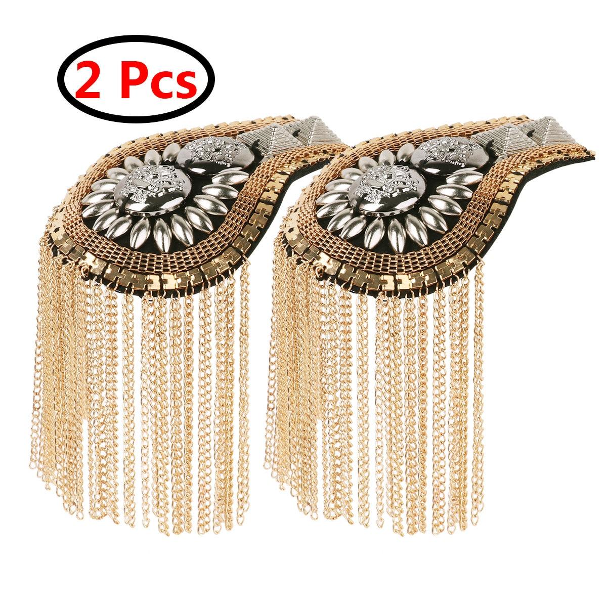 Gun 2 pcs Long Tassel Vintage Epaulet Handmade Chain Shoulder Brooch Unisex for Ceremony Performance