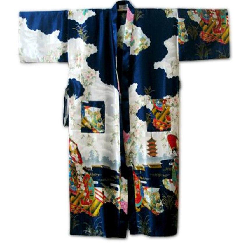 10Color Women Sexy Kimono Robe Gown Chinese Silk Rayon Lingerie Long Sleepwear Printed Fairy Pajama Plus Size
