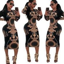 0403b6a750 2019 kobiety sukienka Party klub nocny sukienka w stylu Vintage z długim  rękawem drukuj gorąca sprzedaż