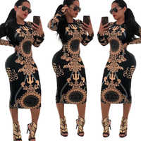 2019 Women Dress Party Night Club Vintage dress Long Sleeve Print Hot Sale Wrap Hip Bodycon Cocktail Bandage dress Sexy Dresses