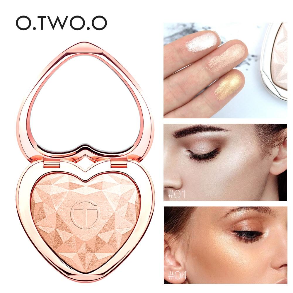 O.TWO.O Pó Iluminador Shimmer Palette Rosto Contorno Destaque Maquiagem Rosto Bronzer Highlighter Cores 4 Clarear A Pele