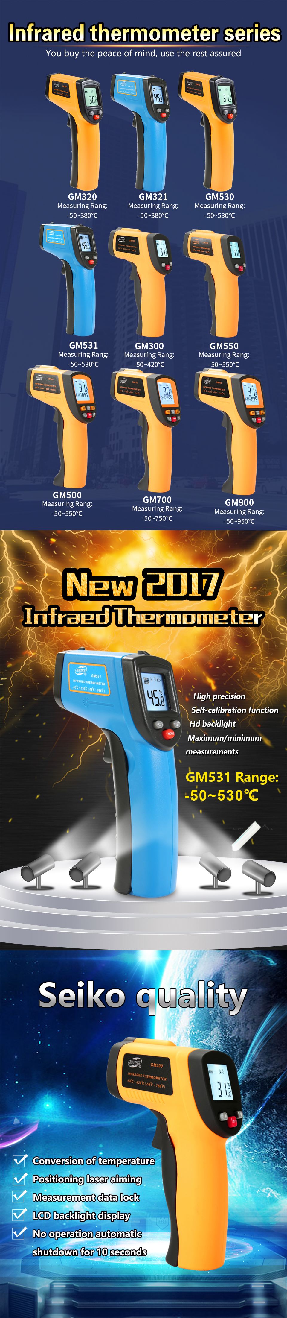 Бесконтактный ИК цифровой инфракрасный термометр лазерный GM300 Benetech