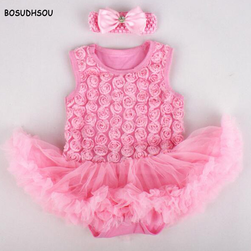 Bosudhsou MC-3 Baby Girl Rompers 2pcs Sets Tutu Romper Dress/Jumpersuit+headband rose design Party Children Clothing cosplay