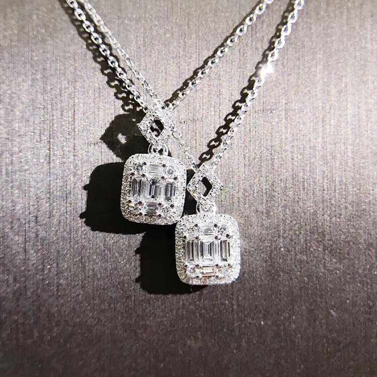Luxury Jewelry Unique Handmade T Princess Cut 5A Zirconia Square Pendant Fashion Eternity Clavicle Necklace For Women Gift