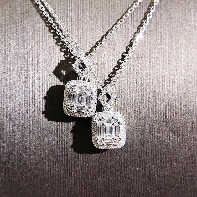 Bijoux de luxe Unique À La Main T Princesse Cut 5A Zircon Carré Pendentif Mode Éternité Clavicule Collier Pour Les Femmes Cadeau