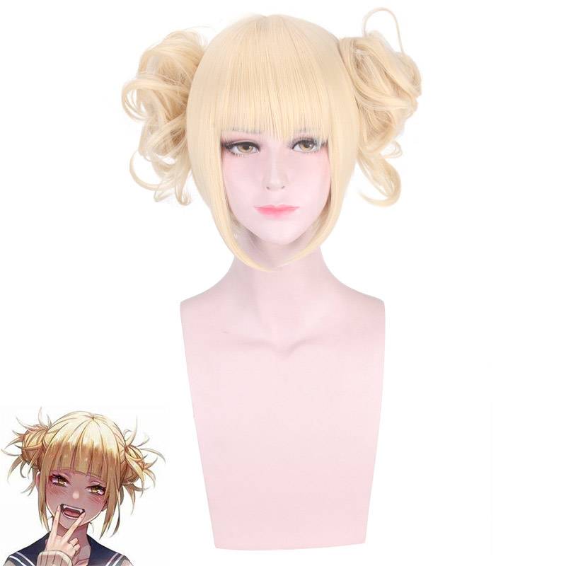 Boku no Hero Academia Wig Cosplay Short Light Blonde Synthetic Hair My Hero Academia Himiko Toga Party Role Play Wigs + wig cap