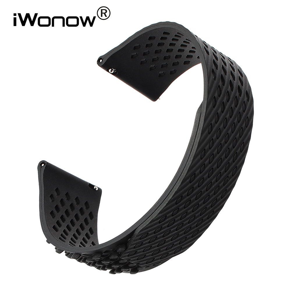 Silicone Rubber Watchband Hook & Loop 22mm for Moto 360 2 46mm Men Pebble Time Huawei Watch 2 (Classic) Band Quick Release Strap