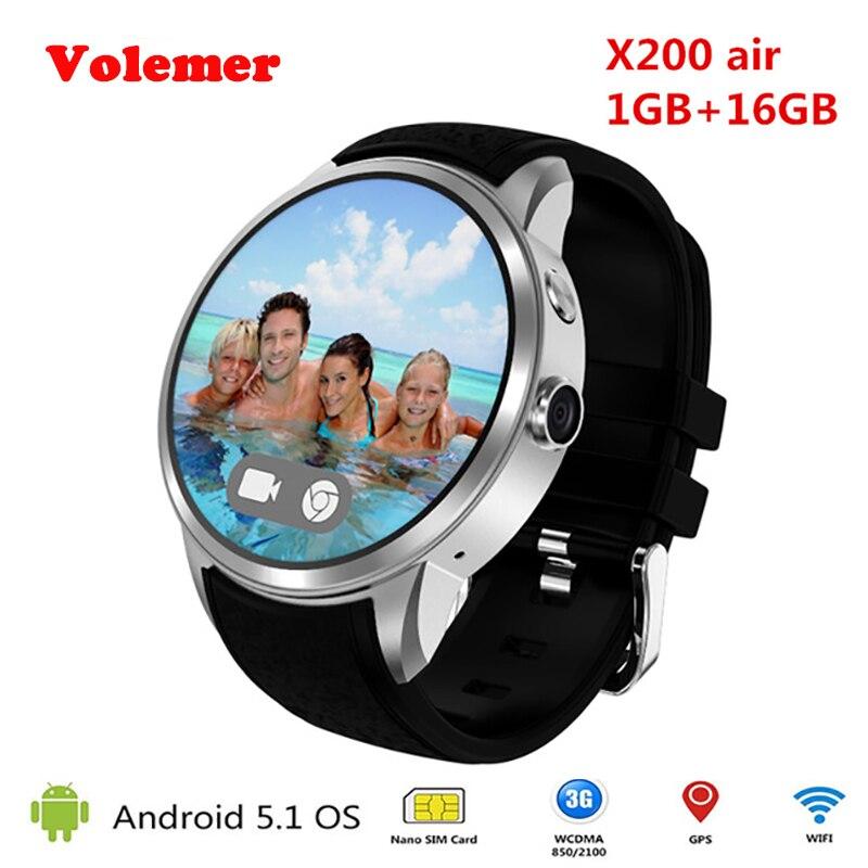все цены на Volemer X200 3G WIFI GPS Smartwatch Android 5.1 Heart Rate Smart Watch MTK6580 Support Nano SIM card Smartwatch with 2.0 Camera онлайн