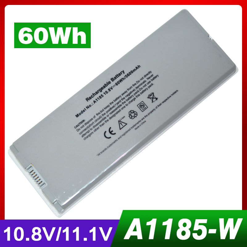 10.8 V/11.1 V 60Wh ordinateur portable batterie blanche pour Apple A1185 MA561 MA254B/A MA699 MA700 MB061 */A MB402B/A MC375LL/A10.8 V/11.1 V 60Wh ordinateur portable batterie blanche pour Apple A1185 MA561 MA254B/A MA699 MA700 MB061 */A MB402B/A MC375LL/A