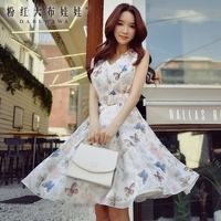 original dress summer 2017 new fashion ladies romantic butterfly printing v neck sleeveless dresses women wholesale
