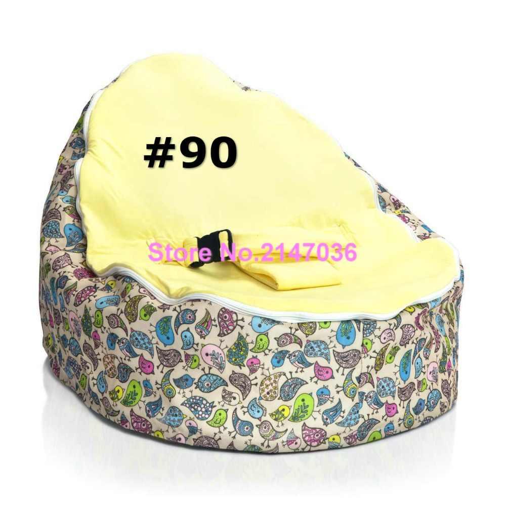 Amarelo e pássaros azuis do saco de feijão Do Bebê/bebê beanbag bouncer/infantil saco de dormir cama-portátil crianças assento do saco de feijão sofá com 2 superior top