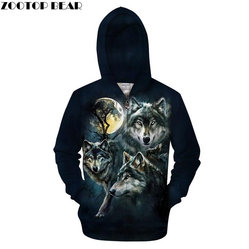 Black Hoodies Zip Wolf Hoody Men Zipper Sweatshirts Anime Tracksuit 3D Pullover Harajuku Coat Streatwear DropShip ZOOTOPBEAR