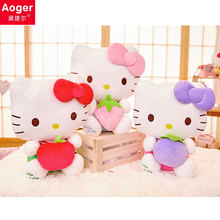 7/9/12/15Inch Aoger Genuine Kello Kitty Stuffed toys Soft Cat Fruit White Plush Dolls Gift for Baby Children