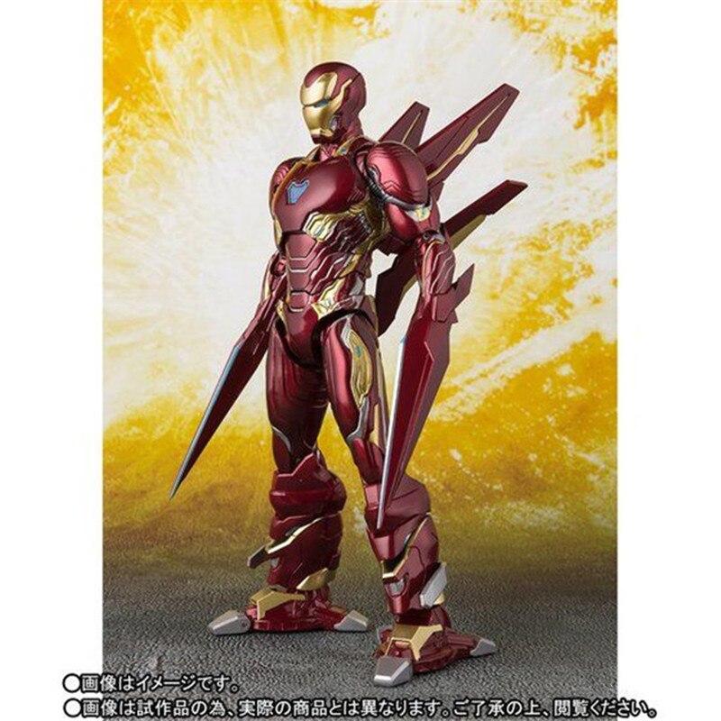 Film les Avengers Infinity War SHF Iron Man MK50 Super Heros ensemble d'arme version PVC figurine à collectionner modèle jouet cadeau