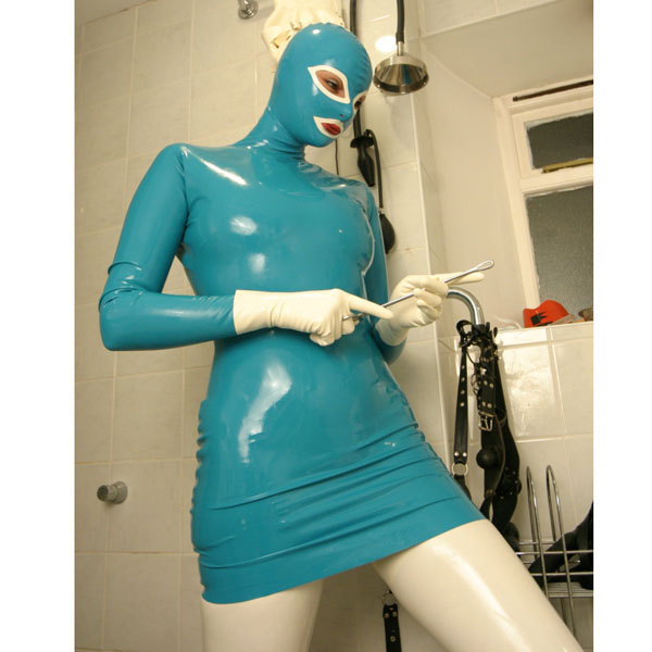 Latex Hood Skirts With Gloves Sexy Tight Dress Uniform Suit Back Zip