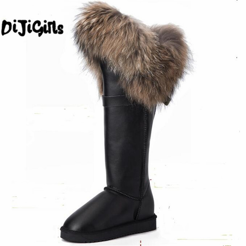 цена на New Winter Genuine Leather Snow Boots Natural Fox Fur Knee- High Boots Waterproof Flat Heel Women Long Fur Boots Raccoon Fur