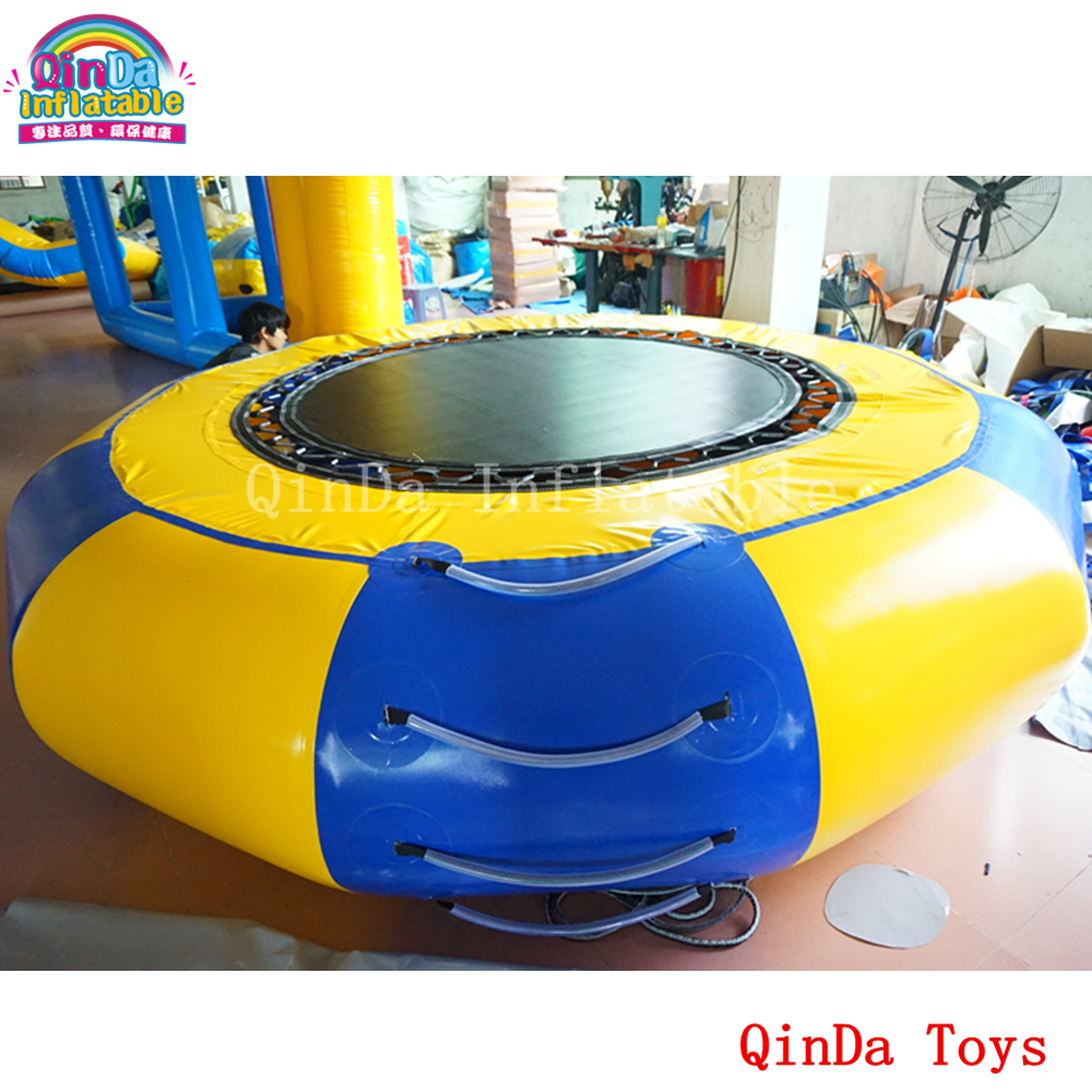 Free air pump Dia 3m inflatable water trampoline,water park equipment inflatable jumping trampoline lake or ocean inflatable funny water sports game water trampoline with air pump and repair kit