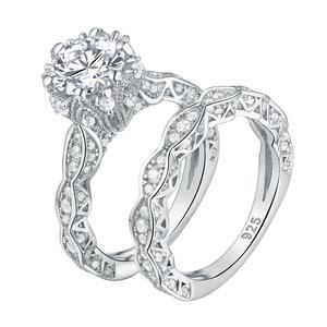 Image 2 - خاتم زفاف عتيق من Newshe 2.6Ct أبيض دائري الشكل AAA CZ مجموعة خواتم خطوبة أصلية من الفضة الإسترليني عيار 925 للسيدات JR4891