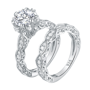 Image 2 - Newshe 2.6Ct White Round Cut AAA CZ Vintage Wedding Ring Set Genuine 925 Sterling Silver Engagement Rings For Women JR4891