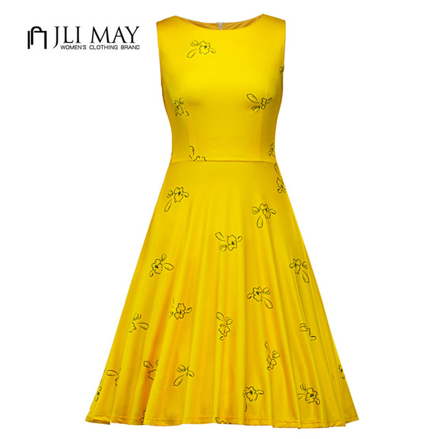 d7e2e7f054 JLI MAY Summer floral Dress women sundress O-Neck Sleeveless belt tank  Yellow print retro Elegant Vintage party ladies dresses