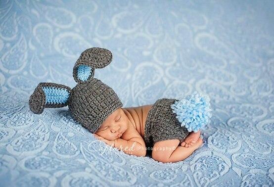 2016 Newborn baby Bunny Hat Diaper Cover Baby Hat Diaper Cover Newborn Photography Props costume rabbit hat baby caps fotografia