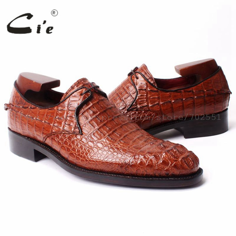 cie Free Shipping Genuine bespoke Handmade men's Round Toe Lacing Crocodile Leather Goodyear welted Craft Shoe Brown No.a bespoke mens goodyear welted shoes handmade custom pointed brock head layer cowhide free shipping red brown dress shoe
