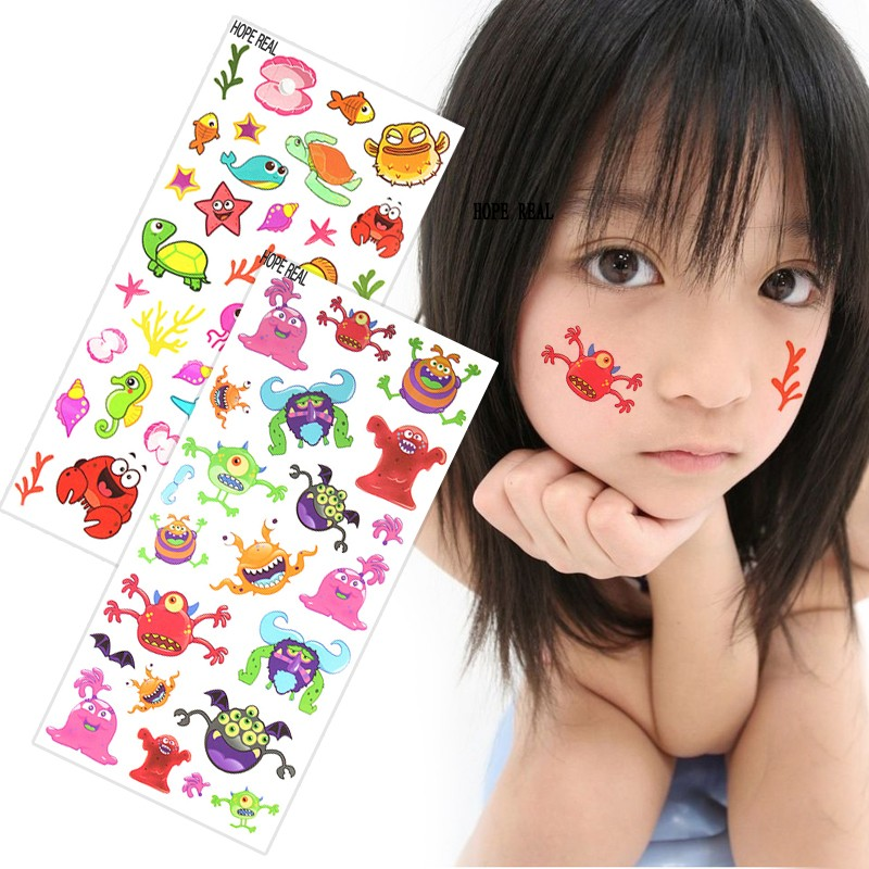 2st / lot Tecknad Temporary Kids tattoo Fish dolphin Tortoise Färgrik Tattoo Sticker För Gift To Children Kids Tattoo For Kids