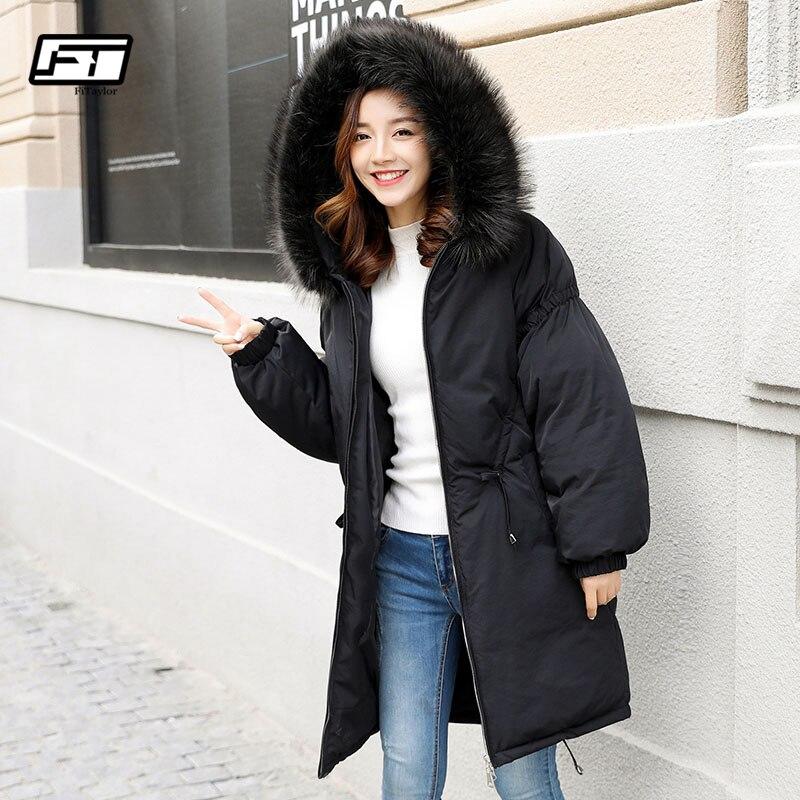 Fitaylor зима большой реального енота Мех животных парки с капюшоном пуховики и парки для женщин для утолщение теплый средней длинны