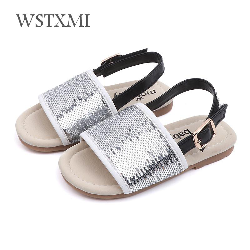 2019 New Summer Baby Girls Sandals Kids Toddler Beach Shoes Children Casual Open Toe Soft Anti-slip Flat Princess Sequin Slipper