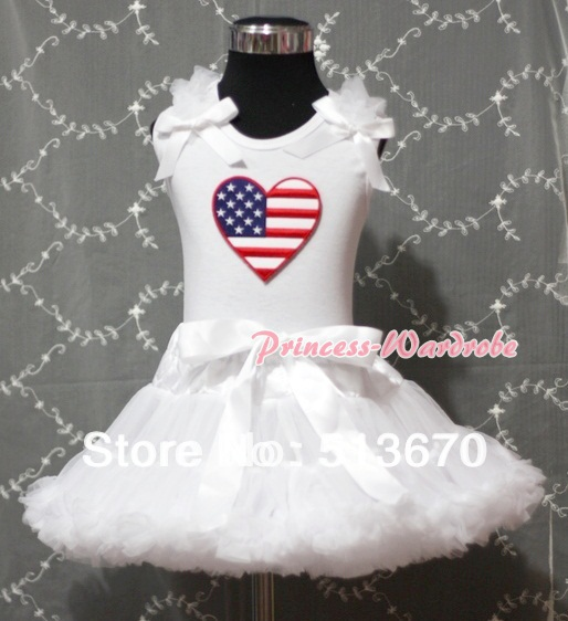 White Pettiskirt with Patriotic America Heart White Ruffles & Bow White Tank Top MAMM161 white pettiskirt with patriotic america heart white ruffles