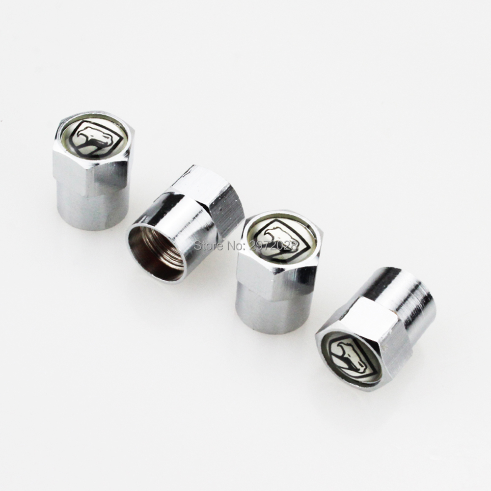 4x Silver Universal Car Wheel Tire Valve Stem Cap Emblem with Keychain For Dodge