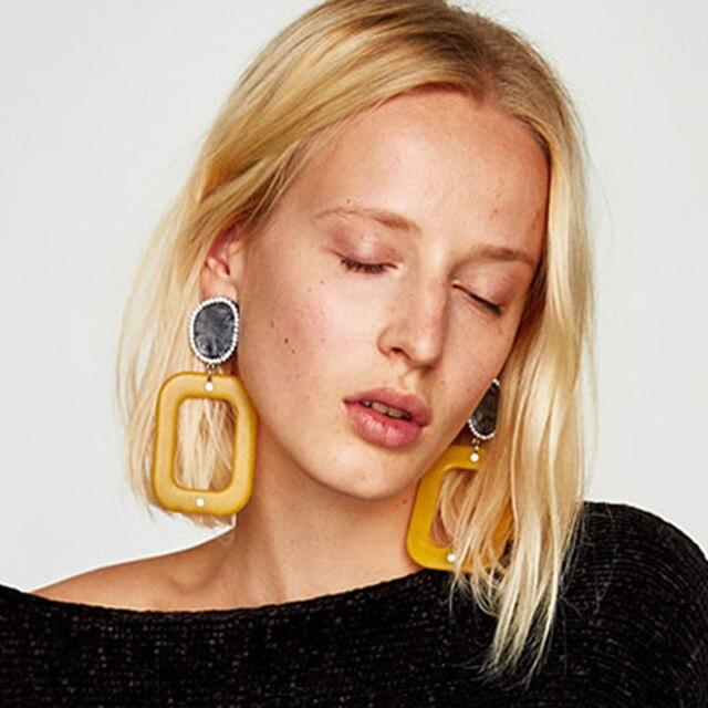 Dvacaman Fashion Women Resin Geometric Drop Dangle Earrings Bohemia Big Earrings