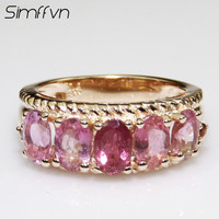 Simffvn 925 Sterling Silver 9 11mm Red Tourmaline Rings For Women Engagement Rring Anniversary Gemstone Bridal