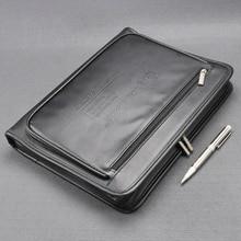 А4 Кожаная Сумка для документов на молнии, черная сумка-Органайзер, мужская сумка менеджера, портфель для документов, папка на молнии, 1179B